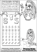Coloring and letter practice page with Frankie Stein from Monster High. Practice drawing, writing and coloring the letter S in different shapes and sizes. Customize the FRANKIE STEIN letters and have fun with the coloring page while practicing on the tricky letter S.  This printable colouring sheet show two smaller coloring pages, the first show Frankie Stein sitting at the beach, playing with sand and nuts, wearing her Gloom Beach Outfit. The second coloring area show  the upper body and face of Frankie Stein. Frankie Stein is shown powdering her face, getting ready to seize the day! Frankie Stein is wearing a tie and a belt with a lightning bolt in it, and is shown with her classy long hair. This Frankie Stein Monster High colouring page appear to be drawn by elfkena ( http://elfkena.deviantart.com/ ). It has been made available for free download and printing via the artist deviant art url, squidoo pages and several monster high fan pages. Frankie Stein from Monster High is a smart frankensteins monster themed humanoid female character, that is the daughter of Dr. Frankensteins monster and his bride.
