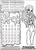 Coloring and letter practice page (the letter S) with Abbey Bominable from Monster High. Practice drawing, writing and coloring the letter S in different shapes and sizes. Customize the ABBEY BOMINABLE letters and have fun with the coloring page while practicing on the tricky letter S.  This printable colouring sheet show Abbey Bominable in her classic clothing and with long hair. This Abbey Bominable Monster High colouring page is drawn by elfkena ( http://elfkena.deviantart.com/ ). It has been made available for free download and printing via the artist deviant art url, squidoo pages and several monster high fan pages. Abbey Bominable from Monster High is cold and fur themed female humanoid monster character. According to the Monster High lore, Abbey Bominable is the daughter of the Yeti, also known as the Abominable Snowman. She is 16 years old, a girl of few words, good at math and not too happy with drama