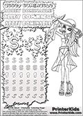 Coloring and letter practice page (the letter S) with Abbey Bominable from Monster High. Practice drawing, writing and coloring the letter S in different shapes and sizes. Customize the ABBEY BOMINABLE letters and have fun with the coloring page while practicing on the tricky letter S.  This printable colouring sheet show Abbey Bominable with a treasure map in one hand, and a cake - probably a muffin in the other. She appear to be chewing on a piece of gum while looking at the treasure map. Abbey Bominable is wearing a large hat in this coloring page where she is has more summer themed cloth on. This Abbey Bominable Monster High colouring page is drawn by elfkena ( http://elfkena.deviantart.com/ ). It has been made available for free download and printing via the artist deviant art url, squidoo pages and several monster high fan pages. Abbey Bominable from Monster High is cold and fur themed female humanoid monster character. According to the Monster High lore, Abbey Bominable is the daughter of the Yeti, also known as the Abominable Snowman. She is 16 years old, a girl of few words, good at math and not too happy with drama
