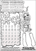 Coloring and letter practice page (the letter S) with Abbey Bominable from Monster High. Practice drawing, writing and coloring the letter S in different shapes and sizes. Customize the ABBEY BOMINABLE letters and have fun with the coloring page while practicing on the tricky letter S.  This printable colouring sheet show Abbey Bominable in her classic clothing and with long hair, posing nicely. This Abbey Bominable Monster High colouring page is drawn by elfkena ( http://elfkena.deviantart.com/ ). It has been made available for free download and printing via the artist deviant art url, squidoo pages and several monster high fan pages. Abbey Bominable from Monster High is cold and fur themed female humanoid monster character. According to the Monster High lore, Abbey Bominable is the daughter of the Yeti, also known as the Abominable Snowman. She is 16 years old, a girl of few words, good at math and not too happy with drama