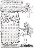 Coloring and letter practice page (the letter S) with Abbey Bominable from Monster High. Practice drawing, writing and coloring the letter S in different shapes and sizes. Customize the ABBEY BOMINABLE letters and have fun with the coloring page while practicing on the tricky letter S.  This printable colouring sheet show Abbey Bominable sitting down, with one leg bent and raised. Abbey is wearing her classic clothing and with long hair. This Abbey Bominable Monster High colouring page is drawn by elfkena ( http://elfkena.deviantart.com/ ). It has been made available for free download and printing via the artist deviant art url, squidoo pages and several monster high fan pages. Abbey Bominable from Monster High is cold and fur themed female humanoid monster character. According to the Monster High lore, Abbey Bominable is the daughter of the Yeti, also known as the Abominable Snowman. She is 16 years old, a girl of few words, good at math and not too happy with drama