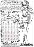 Coloring and letter practice page (the letter S) with Abbey Bominable from Monster High. Practice drawing, writing and coloring the letter S in different shapes and sizes. Customize the ABBEY BOMINABLE letters and have fun with the coloring page while practicing on the tricky letter S.  This printable colouring sheet show Abbey Bominable in her scaris outfit with long hair. Abbey is walking away, but is shown with her head turned backwards so that her face can be colored as well. This Abbey Bominable Monster High colouring page is drawn by elfkena ( http://elfkena.deviantart.com/ ). It has been made available for free download and printing via the artist deviant art url, squidoo pages and several monster high fan pages. Abbey Bominable from Monster High is cold and fur themed female humanoid monster character. According to the Monster High lore, Abbey Bominable is the daughter of the Yeti, also known as the Abominable Snowman. She is 16 years old, a girl of few words, good at math and not too happy with drama