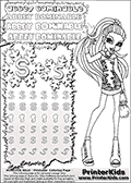 Coloring and letter practice page (the letter S) with Abbey Bominable from Monster High. Practice drawing, writing and coloring the letter S in different shapes and sizes. Customize the ABBEY BOMINABLE letters and have fun with the coloring page while practicing on the tricky letter S.  This printable colouring sheet show Abbey Bominable in her back to school outfit with crystal like frost spikes on her dress and a small purse. This Abbey Bominable Monster High colouring page is drawn by elfkena ( http://elfkena.deviantart.com/ ). It has been made available for free download and printing via the artist deviant art url, squidoo pages and several monster high fan pages. Abbey Bominable from Monster High is cold and fur themed female humanoid monster character. According to the Monster High lore, Abbey Bominable is the daughter of the Yeti, also known as the Abominable Snowman. She is 16 years old, a girl of few words, good at math and not too happy with drama