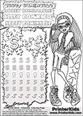 Coloring and letter practice page (the letter S) with Abbey Bominable from Monster High. Practice drawing, writing and coloring the letter S in different shapes and sizes. Customize the ABBEY BOMINABLE letters and have fun with the coloring page while practicing on the tricky letter S. This printable colouring sheet show Abbey Bominable with a snowboard wearing a pair of skiing glasses. This Abbey Bominable Monster High colouring page is drawn by elfkena ( http://elfkena.deviantart.com/ ). It has been made available for free download and printing via the artist deviant art url, squidoo pages and several monster high fan pages. Abbey Bominable from Monster High is cold and fur themed female humanoid monster character. According to the Monster High lore, Abbey Bominable is the daughter of the Yeti, also known as the Abominable Snowman. She is 16 years old, a girl of few words, good at math and not too happy with drama