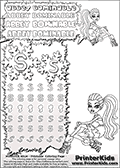 Coloring and letter practice page (the letter S) with Abbey Bominable from Monster High. Practice drawing, writing and coloring the letter S in different shapes and sizes. Customize the ABBEY BOMINABLE letters and have fun with the coloring page while practicing on the tricky letter S. This printable colouring sheet show Abbey Bominable in her dead tired outfit outfit. This Abbey Bominable Monster High colouring page is drawn by elfkena ( http://elfkena.deviantart.com/ ). It has been made available for free download and printing via the artist deviant art url, squidoo pages and several monster high fan pages. Abbey Bominable from Monster High is cold and fur themed female humanoid monster character. According to the Monster High lore, Abbey Bominable is the daughter of the Yeti, also known as the Abominable Snowman. She is 16 years old, a girl of few words, good at math and not too happy with drama