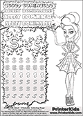 Coloring and letter practice page (the letter S) with Abbey Bominable from Monster High. Practice drawing, writing and coloring the letter S in different shapes and sizes. Customize the ABBEY BOMINABLE letters and have fun with the coloring page while practicing on the tricky letter S.  This printable colouring sheet show Abbey Bominable in an amazing spider-web outfit with two ice cream cones in her one hand. This Abbey Bominable Monster High colouring page is drawn by Fox-cooked ( http://Fox-cooked.deviantart.com/ ). It has been made available for free download and printing via the artist deviant art url, squidoo pages and several monster high fan pages. Abbey Bominable from Monster High is cold and fur themed female humanoid monster character. According to the Monster High lore, Abbey Bominable is the daughter of the Yeti, also known as the Abominable Snowman. She is 16 years old, a girl of few words, good at math and not too happy with drama