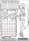Coloring and letter practice page (the letter S) with Abbey Bominable from Monster High. Practice drawing, writing and coloring the letter S in different shapes and sizes. Customize the ABBEY BOMINABLE letters and have fun with the coloring page while practicing on the tricky letter S.  This printable colouring sheet show Abbey Bominable in a very short (small) summer outfit with shorts and a shirt. She is holding a large ice cream cone in each hand. This Abbey Bominable Monster High colouring page is drawn by Fox-cooked ( http://Fox-cooked.deviantart.com/ ). It has been made available for free download and printing via the artist deviant art url, squidoo pages and several monster high fan pages. Abbey Bominable from Monster High is cold and fur themed female humanoid monster character. According to the Monster High lore, Abbey Bominable is the daughter of the Yeti, also known as the Abominable Snowman. She is 16 years old, a girl of few words, good at math and not too happy with drama