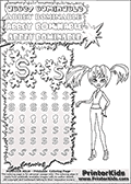 Coloring and letter practice page (the letter S) with Abbey Bominable from Monster High. Practice drawing, writing and coloring the letter S in different shapes and sizes. Customize the ABBEY BOMINABLE letters and have fun with the coloring page while practicing on the tricky letter S.   This printable colouring sheet show Abbey Bominable with her hair setup in two ponytails. This Abbey Bominable Monster High colouring page was found at several blogs, fan sites and via public image search. No author details were available with the coloring page.