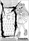 Kids Coloring and letter practice page (the letter C) with Clawdeen Wolf from Monster High. Practice drawing, writing and coloring the letter C in different shapes and sizes. Customize the CLAWDEEN WOLF name in several ways, by coloring the name letters. Have fun with the coloring page while practicing on the alphabet letter C. This printable colouring sheet show Clawdeen Wolf with long hair, walking in a pair of trendy sandals. She is pointing with one finger while walking. This Clawdeen Wolf Monster High colouring page is drawn by elfkena ( http://elfkena.deviantart.com/ ). It has been made available for free download and printing via the artist deviant art url, squidoo pages and several monster high fan pages. This printable colouring and letter practice page is themed around Clawdeen Wolf and the Letter C. The C letter is available in several designs inside a frame designed to look like werewolf scratch marks. The Letter C is used because Clawdeen starts with a capital C.