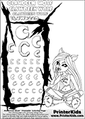 Kids Coloring and letter practice page (the letter C) with Clawdeen Wolf from Monster High. Practice drawing, writing and coloring the letter C in different shapes and sizes. Customize the CLAWDEEN WOLF name in several ways, by coloring the name letters. Have fun with the coloring page while practicing on the alphabet letter C. This printable colouring sheet show Clawdeen Wolf in a smart (dead tired)  pyjamas outfit, sitting with her legs crossed. This Clawdeen Wolf Monster High colouring page is drawn by elfkena ( http://elfkena.deviantart.com/ ). It has been made available for free download and printing via the artist deviant art url, squidoo pages and several monster high fan pages. This printable colouring and letter practice page is themed around Clawdeen Wolf and the Letter C. The C letter is available in several designs inside a frame designed to look like werewolf scratch marks. The Letter C is used because Clawdeen starts with a capital C.