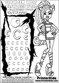 Kids Coloring and letter practice page (the letter C) with Clawdeen Wolf from Monster High. Practice drawing, writing and coloring the letter C in different shapes and sizes. Customize the CLAWDEEN WOLF name in several ways, by coloring the name letters. Have fun with the coloring page while practicing on the alphabet letter C. This printable colouring sheet show Clawdeen Wolf with long hair, a small purse hanging on her one arm and some very amazing long boots on her legs. Clawdeen is as always extremely smart in her outfit. This Clawdeen Wolf Monster High colouring page is drawn by elfkena ( http://elfkena.deviantart.com/ ). It has been made available for free download and printing via the artist deviant art url, squidoo pages and several monster high fan pages. This printable colouring and letter practice page is themed around Clawdeen Wolf and the Letter C. The C letter is available in several designs inside a frame designed to look like werewolf scratch marks. The Letter C is used because Clawdeen starts with a capital C.