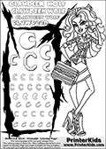Kids Coloring and letter practice page (the letter C) with Clawdeen Wolf from Monster High. Practice drawing, writing and coloring the letter C in different shapes and sizes. Customize the CLAWDEEN WOLF name in several ways, by coloring the name letters. Have fun with the coloring page while practicing on the alphabet letter C. This printable colouring sheet show Clawdeen Wolf in her physical deaducation outfit ( for school ) and with long hair. As always Clawdeen is super smart and trendy, and her school outfit is sure to stand out. This Clawdeen Wolf Monster High colouring page is drawn by elfkena ( http://elfkena.deviantart.com/ ). It has been made available for free download and printing via the artist deviant art url, squidoo pages and several monster high fan pages. This printable colouring and letter practice page is themed around Clawdeen Wolf and the Letter C. The C letter is available in several designs inside a frame designed to look like werewolf scratch marks. The Letter C is used because Clawdeen starts with a capital C.
