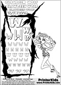 Monster High - Clawdeen Wolf (BooH! - Leopard outfit and sandals) - Letter W - activity and Coloring Page