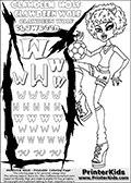 Kids Coloring and letter practice page (the Letter W) with Clawdeen Wolf from Monster High. Practice drawing, writing and coloring the Letter W in different shapes and sizes. Customize the CLAWDEEN WOLF name in several ways, by coloring the name letters. Have fun with the coloring page while practicing on the alphabet Letter W. This printable colouring sheet show Clawdeen Wolf in her Ghoul Spirit Outfit, with short hair. Clawdeen Wolf is playing with a football (soccor), that is shown right above her bent knee in this colouring page. This Clawdeen Wolf Monster High colouring page is drawn by elfkena ( http://elfkena.deviantart.com/ ). It has been made available for free download and printing via the artist deviant art url, squidoo pages and several monster high fan pages. This printable colouring and letter practice page is themed around Clawdeen Wolf and the Letter W. The W letter is available in several designs inside a frame designed to look like werewolf scratch marks. The Letter W is used because WOLF start with a W.