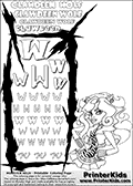 Monster High - Clawdeen Wolf (Amazing close-up) - Letter W - activity and Coloring Page