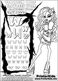 Kids Coloring and letter practice page (the Letter W) with Clawdeen Wolf from Monster High. Practice drawing, writing and coloring the Letter W in different shapes and sizes. Customize the CLAWDEEN WOLF name in several ways, by coloring the name letters. Have fun with the coloring page while practicing on the alphabet Letter W. This printable colouring sheet show Clawdeen Wolf standing and posing in her scaris outfit with long hair. This Clawdeen Wolf Monster High colouring page is drawn by elfkena ( http://elfkena.deviantart.com/ ). It has been made available for free download and printing via the artist deviant art url, squidoo pages and several monster high fan pages. This printable colouring and letter practice page is themed around Clawdeen Wolf and the Letter W. The W letter is available in several designs inside a frame designed to look like werewolf scratch marks. The Letter W is used because WOLF start with a W.