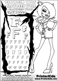 Kids Coloring and letter practice page (the Letter F) with Clawdeen Wolf from Monster High. Practice drawing, writing and coloring the Letter F in different shapes and sizes. Customize the CLAWDEEN WOLF name in several ways, by coloring the name letters. Have fun with the coloring page while practicing on the alphabet Letter F. This printable colouring sheet show Clawdeen Wolf with short hair, wearing a smart stewardess-like outfit. This Clawdeen Wolf Monster High colouring page is drawn by elfkena ( http://elfkena.deviantart.com/ ). It has been made available for free download and printing via the artist deviant art url, squidoo pages and several monster high fan pages. This printable colouring and letter practice page is themed around Clawdeen Wolf and the Letter F. The F letter is available in several designs inside a frame designed to look like werewolf scratch marks.