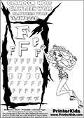 Kids Coloring and letter practice page (the Letter F) with Clawdeen Wolf from Monster High. Practice drawing, writing and coloring the Letter F in different shapes and sizes. Customize the CLAWDEEN WOLF name in several ways, by coloring the name letters. Have fun with the coloring page while practicing on the alphabet Letter F. This printable colouring sheet show Clawdeen Wolf in a super smart leopard themed dress and sandals. Clawdeen Wolf is looking very scary with her tounge hanging out of her mouth and both hands (and claws) raised as she move. Clawdeen has a pair of retro styled glasses in her hair. This Clawdeen Wolf Monster High colouring page is drawn by elfkena ( http://elfkena.deviantart.com/ ). It has been made available for free download and printing via the artist deviant art url, squidoo pages and several monster high fan pages. This printable colouring and letter practice page is themed around Clawdeen Wolf and the Letter F. The F letter is available in several designs inside a frame designed to look like werewolf scratch marks.