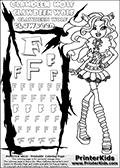 Kids Coloring and letter practice page (the Letter F) with Clawdeen Wolf from Monster High. Practice drawing, writing and coloring the Letter F in different shapes and sizes. Customize the CLAWDEEN WOLF name in several ways, by coloring the name letters. Have fun with the coloring page while practicing on the alphabet Letter F. This printable colouring sheet show Clawdeen Wolf in her classic clothing and with long hair. This Clawdeen Wolf Monster High colouring page is drawn by elfkena ( http://elfkena.deviantart.com/ ). It has been made available for free download and printing via the artist deviant art url, squidoo pages and several monster high fan pages. This printable colouring and letter practice page is themed around Clawdeen Wolf and the Letter F. The F letter is available in several designs inside a frame designed to look like werewolf scratch marks.