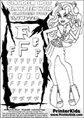 Kids Coloring and letter practice page (the Letter F) with Clawdeen Wolf from Monster High. Practice drawing, writing and coloring the Letter F in different shapes and sizes. Customize the CLAWDEEN WOLF name in several ways, by coloring the name letters. Have fun with the coloring page while practicing on the alphabet Letter F. This printable colouring sheet show Clawdeen Wolf in her Day at the Maul outfit, with extremely high heeled sandals and a super smart outfit. Clawdeen is holding a pair of glasses in one hand. This Clawdeen Wolf Monster High colouring page is drawn by elfkena ( http://elfkena.deviantart.com/ ). It has been made available for free download and printing via the artist deviant art url, squidoo pages and several monster high fan pages. This printable colouring and letter practice page is themed around Clawdeen Wolf and the Letter F. The F letter is available in several designs inside a frame designed to look like werewolf scratch marks.