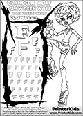 Kids Coloring and letter practice page (the Letter F) with Clawdeen Wolf from Monster High. Practice drawing, writing and coloring the Letter F in different shapes and sizes. Customize the CLAWDEEN WOLF name in several ways, by coloring the name letters. Have fun with the coloring page while practicing on the alphabet Letter F. This printable colouring sheet show Clawdeen Wolf in her Ghoul Spirit Outfit, with short hair. Clawdeen Wolf is playing with a football (soccor), that is shown right above her bent knee in this colouring page. This Clawdeen Wolf Monster High colouring page is drawn by elfkena ( http://elfkena.deviantart.com/ ). It has been made available for free download and printing via the artist deviant art url, squidoo pages and several monster high fan pages. This printable colouring and letter practice page is themed around Clawdeen Wolf and the Letter F. The F letter is available in several designs inside a frame designed to look like werewolf scratch marks.