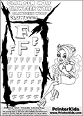 Kids Coloring and letter practice page (the Letter F) with Clawdeen Wolf from Monster High. Practice drawing, writing and coloring the Letter F in different shapes and sizes. Customize the CLAWDEEN WOLF name in several ways, by coloring the name letters. Have fun with the coloring page while practicing on the alphabet Letter F. This printable colouring sheet show Clawdeen Wolf in her scaris outfit, with long hair holding a small cup in one hand. Clawdeen is pictured sitting down holding her one knee with one hand. This Clawdeen Wolf Monster High colouring page is drawn by elfkena ( http://elfkena.deviantart.com/ ). It has been made available for free download and printing via the artist deviant art url, squidoo pages and several monster high fan pages. This printable colouring and letter practice page is themed around Clawdeen Wolf and the Letter F. The F letter is available in several designs inside a frame designed to look like werewolf scratch marks.
