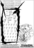 Kids Coloring and letter practice page (the Letter F) with Clawdeen Wolf from Monster High. Practice drawing, writing and coloring the Letter F in different shapes and sizes. Customize the CLAWDEEN WOLF name in several ways, by coloring the name letters. Have fun with the coloring page while practicing on the alphabet Letter F. This printable colouring sheet show Clawdeen Wolf up real close with long hair. Clawdeen is picture in a somewhat sideways standing pose, and is illustrated from the waist and up. This coloring page is ideal for high detail coloring of Clawdeen wolfs blouse / shirt, hair and face. This Clawdeen Wolf Monster High colouring page is drawn by elfkena ( http://elfkena.deviantart.com/ ). It has been made available for free download and printing via the artist deviant art url, squidoo pages and several monster high fan pages. This printable colouring and letter practice page is themed around Clawdeen Wolf and the Letter F. The F letter is available in several designs inside a frame designed to look like werewolf scratch marks.
