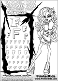 Kids Coloring and letter practice page (the Letter F) with Clawdeen Wolf from Monster High. Practice drawing, writing and coloring the Letter F in different shapes and sizes. Customize the CLAWDEEN WOLF name in several ways, by coloring the name letters. Have fun with the coloring page while practicing on the alphabet Letter F. This printable colouring sheet show Clawdeen Wolf standing and posing in her scaris outfit with long hair. This Clawdeen Wolf Monster High colouring page is drawn by elfkena ( http://elfkena.deviantart.com/ ). It has been made available for free download and printing via the artist deviant art url, squidoo pages and several monster high fan pages. This printable colouring and letter practice page is themed around Clawdeen Wolf and the Letter F. The F letter is available in several designs inside a frame designed to look like werewolf scratch marks.
