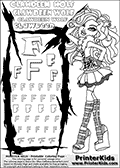 Kids Coloring and letter practice page (the Letter F) with Clawdeen Wolf from Monster High. Practice drawing, writing and coloring the Letter F in different shapes and sizes. Customize the CLAWDEEN WOLF name in several ways, by coloring the name letters. Have fun with the coloring page while practicing on the alphabet Letter F. This printable colouring sheet show Clawdeen Wolf posing while standing somewhat sideways in her classic clothing with long hair. This Clawdeen Wolf Monster High colouring page is drawn by elfkena ( http://elfkena.deviantart.com/ ). It has been made available for free download and printing via the artist deviant art url, squidoo pages and several monster high fan pages. This printable colouring and letter practice page is themed around Clawdeen Wolf and the Letter F. The F letter is available in several designs inside a frame designed to look like werewolf scratch marks.