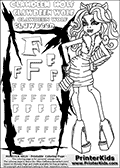 Kids Coloring and letter practice page (the Letter F) with Clawdeen Wolf from Monster High. Practice drawing, writing and coloring the Letter F in different shapes and sizes. Customize the CLAWDEEN WOLF name in several ways, by coloring the name letters. Have fun with the coloring page while practicing on the alphabet Letter F. This printable colouring sheet show Clawdeen Wolf in her killer style outfit with long hair. Clawdeen Wolf is holding a small purse or bag in her right hand and bending slight forward. This Clawdeen Wolf Monster High colouring page is drawn by elfkena ( http://elfkena.deviantart.com/ ). It has been made available for free download and printing via the artist deviant art url, squidoo pages and several monster high fan pages. This printable colouring and letter practice page is themed around Clawdeen Wolf and the Letter F. The F letter is available in several designs inside a frame designed to look like werewolf scratch marks.