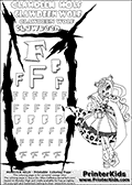 Kids Coloring and letter practice page (the Letter F) with Clawdeen Wolf from Monster High. Practice drawing, writing and coloring the Letter F in different shapes and sizes. Customize the CLAWDEEN WOLF name in several ways, by coloring the name letters. Have fun with the coloring page while practicing on the alphabet Letter F. This printable colouring sheet show Clawdeen Wolf in her little dead riding wolf outfit with long hair. This Clawdeen Wolf Monster High colouring page is drawn by elfkena ( http://elfkena.deviantart.com/ ). It has been made available for free download and printing via the artist deviant art url, squidoo pages and several monster high fan pages. This printable colouring and letter practice page is themed around Clawdeen Wolf and the Letter F. The F letter is available in several designs inside a frame designed to look like werewolf scratch marks.