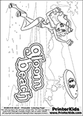 Coloring page with Clawdeen Wolf from Monster High. This printable colouring sheet show Clawdeen Wolf charging after a frisbee in a Gloom Beach scene. This Clawleen Wolf Monster High colouring page was found at several blogs, fan sites and via public image search. No author details were available with the coloring page.