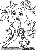 Coloring page with Clawdeen Wolf from Monster High. This printable colouring sheet show Clawdeen Wolf surrounded by flowers. This Clawleen Wolf Monster High colouring page was found at several blogs, fan sites and via public image search. No author details were available with the coloring page.