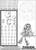 Kids Coloring and letter practice page (the letter C) with Cleo De Nile from Monster High. Practice drawing, writing and coloring the letter C in different shapes and sizes. Customize the CLEO DE NILE name in several ways, by coloring the name letters. Have fun with the coloring page while practicing on the alphabet letter C. Colorize Cleo De Nile that is sitting down with her legs crossed while she is holding her phone in one hand up to her face. This Letter C - activity and Coloring Page for printing show Cleo De Nile in her classic egyptian princess outfit with golden objects, bandages and of course fantastic long dark hair. This Cleo De Nile Monster High printable page to color page is drawn by elfkena ( http://elfkena.deviantart.com/ ). It has been made available for free download and printing via the artist deviant art url, squidoo pages and several monster high fan pages. This printable colouring and letter practice page is themed around Cleo De Nile and the Letter C. The C letter is available in several designs inside a frame, designed to look like an egyptian tablet or pyramid wall drawing pattern. The Letter C is used because Cleo De Nile starts with a capital C. Be sure to check out letter and pencil practice printables with the other letters that are used to write CLEO DE NILE.