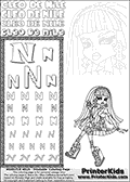 Kids Coloring and letter practice page (the Letter N) with Cleo De Nile from Monster High. Practice drawing, writing and coloring the Letter N in different shapes and sizes. Customize the CLEO DE NILE name in several ways, by coloring the name letters. Have fun with the coloring page while practicing on the alphabet Letter N. Colorize Cleo De Nile that is sitting down with her legs crossed while she is holding her phone in one hand up to her face. This Letter N - activity and Coloring Page for printing show Cleo De Nile in her classic egyptian princess outfit with golden objects, bandages and of course fantastic long dark hair. This Cleo De Nile Monster High printable page to color page is drawn by elfkena ( http://elfkena.deviantart.com/ ). It has been made available for free download and printing via the artist deviant art url, squidoo pages and several monster high fan pages. This printable colouring and letter practice page is themed around Cleo De Nile and the Letter N. The alphabet Letter N  is available in several designs inside a frame, designed to look like an egyptian tablet or pyramid wall drawing pattern. The Letter N is used for this printing page for practice and coloring, because it is one of the letters used in CLEO DE NILEs name. Be sure to check out letter and pencil practice printables with the other letters that are used to write CLEO DE NILE.