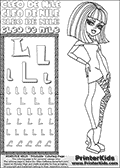 Kids Coloring and letter practice page (the Letter L) with Cleo De Nile from Monster High. Practice drawing, writing and coloring the Letter L in different shapes and sizes. Customize the CLEO DE NILE name in several ways, by coloring the name letters. Have fun with the coloring page while practicing on the alphabet Letter L. Color a page with Cleo De Nile standing with her right arm bent at her right side. Cleo De Nile is shown posing - possibly before dance part;) This Letter L - activity and Coloring Page for printing show Cleo De Nile in her dawn of the dance outfit with shoulder long hair. This Cleo De Nile Monster High printable page to color page is drawn by elfkena ( http://elfkena.deviantart.com/ ). It has been made available for free download and printing via the artist deviant art url, squidoo pages and several monster high fan pages. This printable colouring and letter practice page is themed around Cleo De Nile and the Letter L. The alphabet letter L  is available in several designs inside a frame, designed to look like an egyptian tablet or pyramid wall drawing pattern. The letter L is used for this printing page for practice and coloring, because it is one of the letters used in CLEO DE NILEs name. Be sure to check out letter and pencil practice printables with the other letters that are used to write CLEO DE NILE.