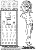 Kids Coloring and letter practice page (the Letter E) with Cleo De Nile from Monster High. Practice drawing, writing and coloring the Letter E in different shapes and sizes. Customize the CLEO DE NILE name in several ways, by coloring the name letters. Have fun with the coloring page while practicing on the alphabet Letter E. Color a page with Cleo De Nile standing with her right arm bent at her right side. Cleo De Nile is shown posing - possibly before dance part;) This Letter E - activity and Coloring Page for printing show Cleo De Nile in her dawn of the dance outfit with shoulder long hair. This Cleo De Nile Monster High printable page to color page is drawn by elfkena ( http://elfkena.deviantart.com/ ). It has been made available for free download and printing via the artist deviant art url, squidoo pages and several monster high fan pages. This printable colouring and letter practice page is themed around Cleo De Nile and the Letter E. The alphabet Letter E  is available in several designs inside a frame, designed to look like an egyptian tablet or pyramid wall drawing pattern. The Letter E is used for this printing page for practice and coloring, because it is one of the letters used in CLEO DE NILEs name. Be sure to check out letter and pencil practice printables with the other letters that are used to write CLEO DE NILE.