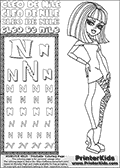 Kids Coloring and letter practice page (the Letter N) with Cleo De Nile from Monster High. Practice drawing, writing and coloring the Letter N in different shapes and sizes. Customize the CLEO DE NILE name in several ways, by coloring the name letters. Have fun with the coloring page while practicing on the alphabet Letter N. Color a page with Cleo De Nile standing with her right arm bent at her right side. Cleo De Nile is shown posing - possibly before dance part;) This Letter N - activity and Coloring Page for printing show Cleo De Nile in her dawn of the dance outfit with shoulder long hair. This Cleo De Nile Monster High printable page to color page is drawn by elfkena ( http://elfkena.deviantart.com/ ). It has been made available for free download and printing via the artist deviant art url, squidoo pages and several monster high fan pages. This printable colouring and letter practice page is themed around Cleo De Nile and the Letter N. The alphabet Letter N  is available in several designs inside a frame, designed to look like an egyptian tablet or pyramid wall drawing pattern. The Letter N is used for this printing page for practice and coloring, because it is one of the letters used in CLEO DE NILEs name. Be sure to check out letter and pencil practice printables with the other letters that are used to write CLEO DE NILE.