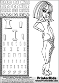 Kids Coloring and letter practice page (the Letter I) with Cleo De Nile from Monster High. Practice drawing, writing and coloring the Letter I in different shapes and sizes. Customize the CLEO DE NILE name in several ways, by coloring the name letters. Have fun with the coloring page while practicing on the alphabet Letter I. Color a page with Cleo De Nile standing with her right arm bent at her right side. Cleo De Nile is shown posing - possibly before dance part;) This Letter I - activity and Coloring Page for printing show Cleo De Nile in her dawn of the dance outfit with shoulder long hair. This Cleo De Nile Monster High printable page to color page is drawn by elfkena ( http://elfkena.deviantart.com/ ). It has been made available for free download and printing via the artist deviant art url, squidoo pages and several monster high fan pages. This printable colouring and letter practice page is themed around Cleo De Nile and the Letter I. The alphabet Letter I  is available in several designs inside a frame, designed to look like an egyptian tablet or pyramid wall drawing pattern. The Letter I is used for this printing page for practice and coloring, because it is one of the letters used in CLEO DE NILEs name. Be sure to check out letter and pencil practice printables with the other letters that are used to write CLEO DE NILE.