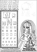 Kids Coloring and letter practice page (the Letter N) with Cleo De Nile from Monster High. Practice drawing, writing and coloring the Letter N in different shapes and sizes. Customize the CLEO DE NILE name in several ways, by coloring the name letters. Have fun with the coloring page while practicing on the alphabet Letter N. If you want to color Cle De Niles head and upper body, in a Letter N - activity and Coloring Page with many detail areas that are easy to color, this is the page to print. Cleo De Nile is shown with her head and upper body only - making these areas larger and easier to color. This Letter N - activity and Coloring Page for printing show Cleo De Nile in her classic egyptian princess outfit with golden objects, bandages and of course fantastic long dark hair. This Cleo De Nile Monster High printable page to color page is drawn by elfkena ( http://elfkena.deviantart.com/ ). It has been made available for free download and printing via the artist deviant art url, squidoo pages and several monster high fan pages. This printable colouring and letter practice page is themed around Cleo De Nile and the Letter N. The alphabet Letter N  is available in several designs inside a frame, designed to look like an egyptian tablet or pyramid wall drawing pattern. The Letter N is used for this printing page for practice and coloring, because it is one of the letters used in CLEO DE NILEs name. Be sure to check out letter and pencil practice printables with the other letters that are used to write CLEO DE NILE.