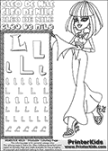 Kids Coloring and letter practice page (the Letter L) with Cleo De Nile from Monster High. Practice drawing, writing and coloring the Letter L in different shapes and sizes. Customize the CLEO DE NILE name in several ways, by coloring the name letters. Have fun with the coloring page while practicing on the alphabet Letter L. Turn Cleo De Nile and her Dawn of the Dance outfit into anything you want, with this amazing printable Letter L - activity and Coloring Page. Cleo De Nile is shown walking with a scarf or something similar to that in her hand. This Letter L - activity and Coloring Page for printing show Cleo De Nile in her classy dawn of the dance outfit. Cleo De Nile is pictured with shoulder long colorable hair. This Cleo De Nile Monster High printable page to color page is drawn by elfkena ( http://elfkena.deviantart.com/ ). It has been made available for free download and printing via the artist deviant art url, squidoo pages and several monster high fan pages. This printable colouring and letter practice page is themed around Cleo De Nile and the Letter L. The alphabet letter L  is available in several designs inside a frame, designed to look like an egyptian tablet or pyramid wall drawing pattern. The letter L is used for this printing page for practice and coloring, because it is one of the letters used in CLEO DE NILEs name. Be sure to check out letter and pencil practice printables with the other letters that are used to write CLEO DE NILE.