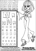 Kids Coloring and letter practice page (the Letter N) with Cleo De Nile from Monster High. Practice drawing, writing and coloring the Letter N in different shapes and sizes. Customize the CLEO DE NILE name in several ways, by coloring the name letters. Have fun with the coloring page while practicing on the alphabet Letter N. Turn Cleo De Nile and her Dawn of the Dance outfit into anything you want, with this amazing printable Letter N - activity and Coloring Page. Cleo De Nile is shown walking with a scarf or something similar to that in her hand. This Letter N - activity and Coloring Page for printing show Cleo De Nile in her classy dawn of the dance outfit. Cleo De Nile is pictured with shoulder long colorable hair. This Cleo De Nile Monster High printable page to color page is drawn by elfkena ( http://elfkena.deviantart.com/ ). It has been made available for free download and printing via the artist deviant art url, squidoo pages and several monster high fan pages. This printable colouring and letter practice page is themed around Cleo De Nile and the Letter N. The alphabet Letter N  is available in several designs inside a frame, designed to look like an egyptian tablet or pyramid wall drawing pattern. The Letter N is used for this printing page for practice and coloring, because it is one of the letters used in CLEO DE NILEs name. Be sure to check out letter and pencil practice printables with the other letters that are used to write CLEO DE NILE.