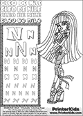 Kids Coloring and letter practice page (the Letter N) with Cleo De Nile from Monster High. Practice drawing, writing and coloring the Letter N in different shapes and sizes. Customize the CLEO DE NILE name in several ways, by coloring the name letters. Have fun with the coloring page while practicing on the alphabet Letter N. Cleo De Nile is drawn with her arms crosed at her chest while she is standing as if she is leaning up against something. Her leg bandages appear to be moving in the wind at her ancles. This Letter N - activity and Coloring Page for printing show Cleo De Nile in her classic egyptian princess outfit with golden objects, bandages and of course fantastic long dark hair. This Cleo De Nile Monster High printable page to color page is drawn by elfkena ( http://elfkena.deviantart.com/ ). It has been made available for free download and printing via the artist deviant art url, squidoo pages and several monster high fan pages. This printable colouring and letter practice page is themed around Cleo De Nile and the Letter N. The alphabet Letter N  is available in several designs inside a frame, designed to look like an egyptian tablet or pyramid wall drawing pattern. The Letter N is used for this printing page for practice and coloring, because it is one of the letters used in CLEO DE NILEs name. Be sure to check out letter and pencil practice printables with the other letters that are used to write CLEO DE NILE.