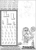 Kids Coloring and letter practice page (the Letter L) with Cleo De Nile from Monster High. Practice drawing, writing and coloring the Letter L in different shapes and sizes. Customize the CLEO DE NILE name in several ways, by coloring the name letters. Have fun with the coloring page while practicing on the alphabet Letter L. Cleo De Nile is sitting or kneeling on the ground with one leg stretched backwards and with a knee into the ground. She is holding what look like cheerleading ponpons in her hands. This Letter L - activity and Coloring Page for printing show Cleo De Nile in her Ghoul Spirit outfit and long colorable hair. This Cleo De Nile Monster High printable page to color page is drawn by elfkena ( http://elfkena.deviantart.com/ ). It has been made available for free download and printing via the artist deviant art url, squidoo pages and several monster high fan pages. This printable colouring and letter practice page is themed around Cleo De Nile and the Letter L. The alphabet letter L  is available in several designs inside a frame, designed to look like an egyptian tablet or pyramid wall drawing pattern. The letter L is used for this printing page for practice and coloring, because it is one of the letters used in CLEO DE NILEs name. Be sure to check out letter and pencil practice printables with the other letters that are used to write CLEO DE NILE.