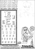 Kids Coloring and letter practice page (the Letter E) with Cleo De Nile from Monster High. Practice drawing, writing and coloring the Letter E in different shapes and sizes. Customize the CLEO DE NILE name in several ways, by coloring the name letters. Have fun with the coloring page while practicing on the alphabet Letter E. Cleo De Nile is sitting or kneeling on the ground with one leg stretched backwards and with a knee into the ground. She is holding what look like cheerleading ponpons in her hands. This Letter E - activity and Coloring Page for printing show Cleo De Nile in her Ghoul Spirit outfit and long colorable hair. This Cleo De Nile Monster High printable page to color page is drawn by elfkena ( http://elfkena.deviantart.com/ ). It has been made available for free download and printing via the artist deviant art url, squidoo pages and several monster high fan pages. This printable colouring and letter practice page is themed around Cleo De Nile and the Letter E. The alphabet Letter E  is available in several designs inside a frame, designed to look like an egyptian tablet or pyramid wall drawing pattern. The Letter E is used for this printing page for practice and coloring, because it is one of the letters used in CLEO DE NILEs name. Be sure to check out letter and pencil practice printables with the other letters that are used to write CLEO DE NILE.