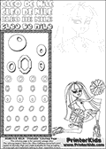 Kids Coloring and letter practice page (the Letter O) with Cleo De Nile from Monster High. Practice drawing, writing and coloring the Letter O in different shapes and sizes. Customize the CLEO DE NILE name in several ways, by coloring the name letters. Have fun with the coloring page while practicing on the alphabet Letter O. Cleo De Nile is sitting or kneeling on the ground with one leg stretched backwards and with a knee into the ground. She is holding what look like cheerleading ponpons in her hands. This Letter O - activity and Coloring Page for printing show Cleo De Nile in her Ghoul Spirit outfit and long colorable hair. This Cleo De Nile Monster High printable page to color page is drawn by elfkena ( http://elfkena.deviantart.com/ ). It has been made available for free download and printing via the artist deviant art url, squidoo pages and several monster high fan pages. This printable colouring and letter practice page is themed around Cleo De Nile and the Letter O. The alphabet Letter O  is available in several designs inside a frame, designed to look like an egyptian tablet or pyramid wall drawing pattern. The Letter O is used for this printing page for practice and coloring, because it is one of the letters used in CLEO DE NILEs name. Be sure to check out letter and pencil practice printables with the other letters that are used to write CLEO DE NILE.