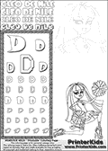 Kids Coloring and letter practice page (the Letter D) with Cleo De Nile from Monster High. Practice drawing, writing and coloring the Letter D in different shapes and sizes. Customize the CLEO DE NILE name in several ways, by coloring the name letters. Have fun with the coloring page while practicing on the alphabet Letter D. Cleo De Nile is sitting or kneeling on the ground with one leg stretched backwards and with a knee into the ground. She is holding what look like cheerleading ponpons in her hands. This Letter D - activity and Coloring Page for printing show Cleo De Nile in her Ghoul Spirit outfit and long colorable hair. This Cleo De Nile Monster High printable page to color page is drawn by elfkena ( http://elfkena.deviantart.com/ ). It has been made available for free download and printing via the artist deviant art url, squidoo pages and several monster high fan pages. This printable colouring and letter practice page is themed around Cleo De Nile and the Letter D. The alphabet Letter D  is available in several designs inside a frame, designed to look like an egyptian tablet or pyramid wall drawing pattern. The Letter D is used for this printing page for practice and coloring, because it is one of the letters used in CLEO DE NILEs name. Be sure to check out letter and pencil practice printables with the other letters that are used to write CLEO DE NILE.