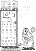 Kids Coloring and letter practice page (the Letter N) with Cleo De Nile from Monster High. Practice drawing, writing and coloring the Letter N in different shapes and sizes. Customize the CLEO DE NILE name in several ways, by coloring the name letters. Have fun with the coloring page while practicing on the alphabet Letter N. Cleo De Nile is sitting or kneeling on the ground with one leg stretched backwards and with a knee into the ground. She is holding what look like cheerleading ponpons in her hands. This Letter N - activity and Coloring Page for printing show Cleo De Nile in her Ghoul Spirit outfit and long colorable hair. This Cleo De Nile Monster High printable page to color page is drawn by elfkena ( http://elfkena.deviantart.com/ ). It has been made available for free download and printing via the artist deviant art url, squidoo pages and several monster high fan pages. This printable colouring and letter practice page is themed around Cleo De Nile and the Letter N. The alphabet Letter N  is available in several designs inside a frame, designed to look like an egyptian tablet or pyramid wall drawing pattern. The Letter N is used for this printing page for practice and coloring, because it is one of the letters used in CLEO DE NILEs name. Be sure to check out letter and pencil practice printables with the other letters that are used to write CLEO DE NILE.