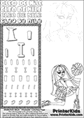 Kids Coloring and letter practice page (the Letter I) with Cleo De Nile from Monster High. Practice drawing, writing and coloring the Letter I in different shapes and sizes. Customize the CLEO DE NILE name in several ways, by coloring the name letters. Have fun with the coloring page while practicing on the alphabet Letter I. Cleo De Nile is sitting or kneeling on the ground with one leg stretched backwards and with a knee into the ground. She is holding what look like cheerleading ponpons in her hands. This Letter I - activity and Coloring Page for printing show Cleo De Nile in her Ghoul Spirit outfit and long colorable hair. This Cleo De Nile Monster High printable page to color page is drawn by elfkena ( http://elfkena.deviantart.com/ ). It has been made available for free download and printing via the artist deviant art url, squidoo pages and several monster high fan pages. This printable colouring and letter practice page is themed around Cleo De Nile and the Letter I. The alphabet Letter I  is available in several designs inside a frame, designed to look like an egyptian tablet or pyramid wall drawing pattern. The Letter I is used for this printing page for practice and coloring, because it is one of the letters used in CLEO DE NILEs name. Be sure to check out letter and pencil practice printables with the other letters that are used to write CLEO DE NILE.