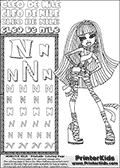 Kids Coloring and letter practice page (the Letter N) with Cleo De Nile from Monster High. Practice drawing, writing and coloring the Letter N in different shapes and sizes. Customize the CLEO DE NILE name in several ways, by coloring the name letters. Have fun with the coloring page while practicing on the alphabet Letter N. Color Cleo De Nile standing in a frontal pose from top to toe... Well... Actually it is more from high heel and bandages to hair! This Letter N - activity and Coloring Page for printing show Cleo De Nile in her classic egyptian princess outfit with golden objects, bandages and of course fantastic long dark hair. This Cleo De Nile Monster High printable page to color page is drawn by elfkena ( http://elfkena.deviantart.com/ ). It has been made available for free download and printing via the artist deviant art url, squidoo pages and several monster high fan pages. This printable colouring and letter practice page is themed around Cleo De Nile and the Letter N. The alphabet Letter N  is available in several designs inside a frame, designed to look like an egyptian tablet or pyramid wall drawing pattern. The Letter N is used for this printing page for practice and coloring, because it is one of the letters used in CLEO DE NILEs name. Be sure to check out letter and pencil practice printables with the other letters that are used to write CLEO DE NILE.